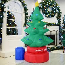 210 h cm christmas inflatable rotating tree w 6 led lights