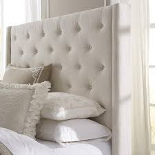 wingback button tufted cream queen size upholstered headboard