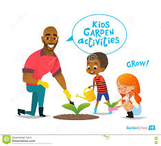 father and kids engaged gardening in the backyard boy