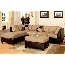 sectional sofas with ottoman com poundex new two tone leatherette and micro suede