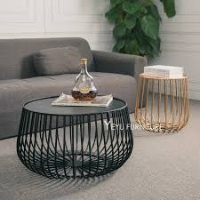 Side Table In Living Room Minimalist Modern Design Pumpkin Black And Gold Metal Tea