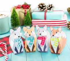 christmas table favors to make printable winter fox gift boxes diy christmas party favor