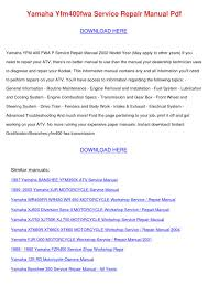 yamaha yfm400fwa service repair manual pdf by jerrodhebert issuu