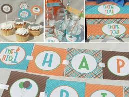 1st Birthday Party Ideas Decoration Boy First Birthday Invitation 1st Printable Orange Aqua Blue Brown