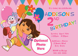 Birthday Invitation Card Free Templates Free Dora Birthday Card