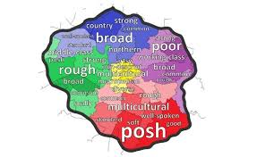 map of oldham scally or posh greater manchester accent map shows what