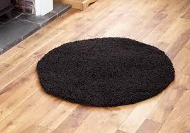 Black Circle Rug Modern Small Soft Shaggy Circle Round Rug 5cm Thick Pile Black
