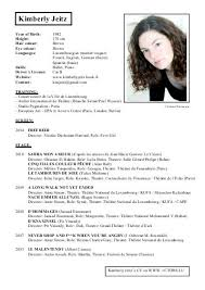 Sample Acting Resume For Beginners by Resume For Actors And Technical Theatre Resume Also Actor Resume