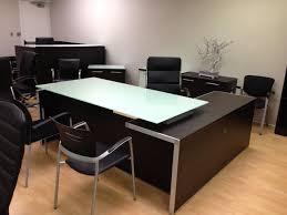 White Desk With Glass Top by Chiarezza Executive L Desk Split Level And 50 Similar Items