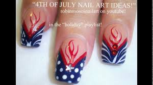 red white and blue nail art designs youtube