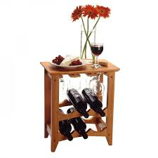winsome wood wine rack holds 6 bottles with glass rack honey