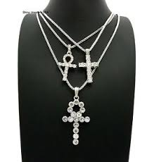 necklace set box images Silver iced out egyptian key of life ankh cross box chain 3 jpg
