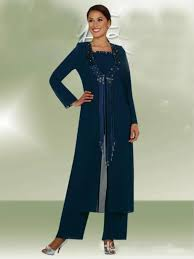 latest dark navy long jacket mother bride pants suits women party