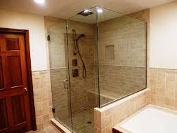 traditional bathroom with pine wood floor and granite shower with