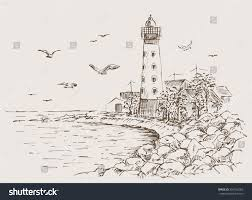 landscape sketch lighthouse sea gulls trees stock vector 596162063
