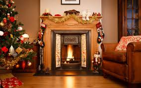christmas tree by fireplace christmas lights decoration