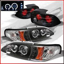 96 98 mustang tail lights fits 96 98 ford mustang 2x halo led projector headlights tail