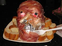 proscuitto ham 1 plastic skull can be found at most party stores