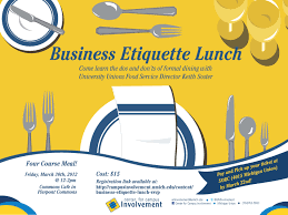 business etiquette lunch campus involvement