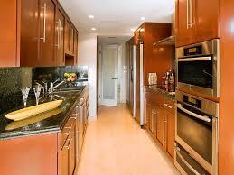 kitchen modern galley kitchen design with brown wooden theme