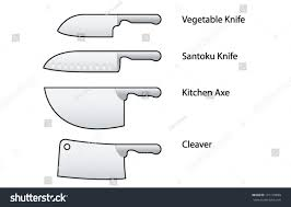 set kitchen knives japanese vegetable usuba stock vector 131178890