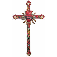 small wood crosses large mexican painted wood cross with peace doves and tin heart
