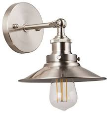 Industrial Wall Sconce Andante Led Industrial Wall Sconce Fixture Brushed Nickel