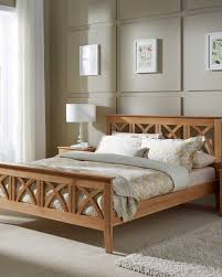 headboard with bed frame oak wooden bed frame with decorative headboard design maiden serene