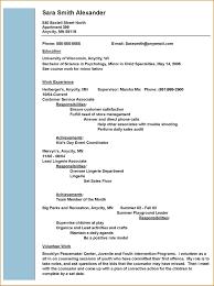 Summer Job Resume Sample Resume Template Templates Free Download For Microsoft Word Job