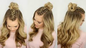mohawk braid top knot half up hairstyle missy sue youtube