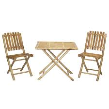 Folding Bistro Table And 2 Chairs Handmade Bistro Bamboo Table And 2 Chairs Patio Set