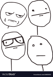 Meme Poker Face - guy meme poker face for any design royalty free vector image