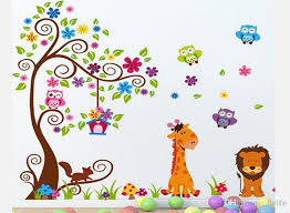 Cheap Wall Decals For Nursery Large Tree With Giraffe Owls Diy Wall Decal Nursery Room Wall