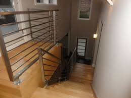 stainless steel horizontal railing contemporary staircase