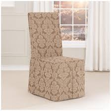 interior gray fabric dining chair seat cover with short skirt