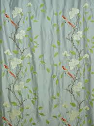 Faux Silk Embroidered Curtains Living Room Gray Embroidered Bird Branch Faux Silk Custom