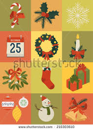 large vector set christmas themed items stock vector 210368968