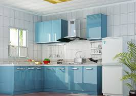 blue kitchens with brown cabinets cream fabric small rugs above