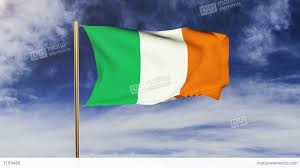 ireland flag waving in the wind looping sun rises style