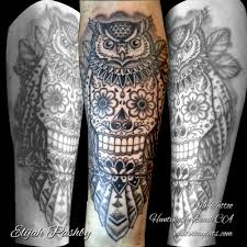 blackwork owl owl with skull tattoo by elijah pashby my ta u2026 flickr