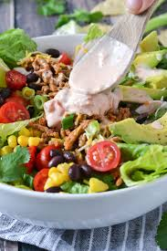 loaded taco salad with salsa ranch dressing mother thyme