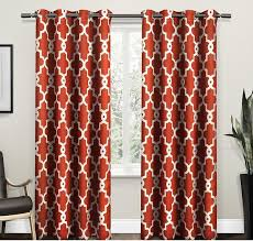 Orange And White Curtains 96 Inch Mecca Orange White Moroccan Curtains Panel Pair Set
