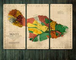 Maui Hawaii Map Vintage Map Of Maui Hawaii Metal Triptych 36x24free
