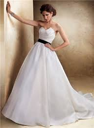 black sash a line asymmetrical neckline organza wedding dress with black sash