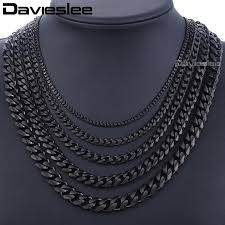 mens silver curb necklace images Davieslee men 39 s chain black gold silver curb cuban link stainless jpg