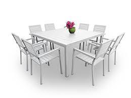 Black Resin Patio Furniture Outdoor Patio Furniture New Aluminum Resin 9 Piece Square Dining Table