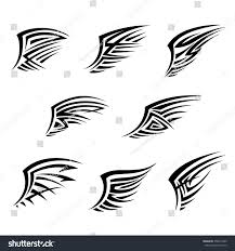 black wings tribal tattoo style abstract stock vector 358014335