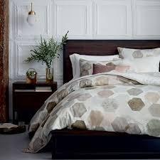 Sateen Duvet Cover King 400 Thread Count Organic Geo Sateen Duvet Cover Shams West Elm