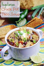 vegetarian taco soup crock pot recipe running in a skirt