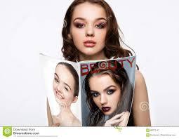 beautiful holding fashion beauty magazine stock image image